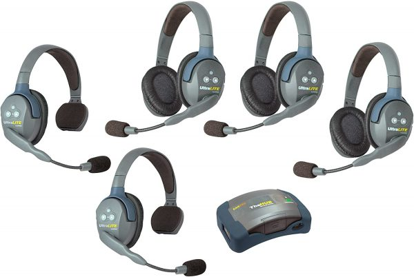 Image showing five eartec headsets and one wireless hub