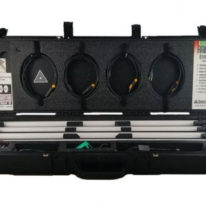Open case showing four quasar science rainbow led lights with accessories.