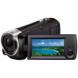 Image of Sony HDR-CX440 HD Handycam with monitor flipped out.